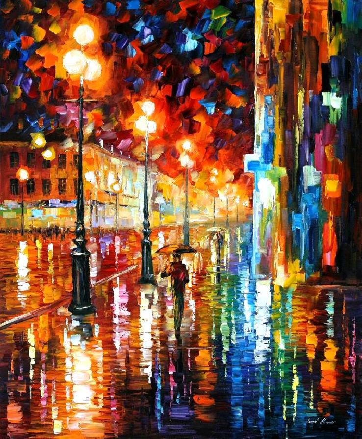 Modern impressionism palette knife oil painting City050