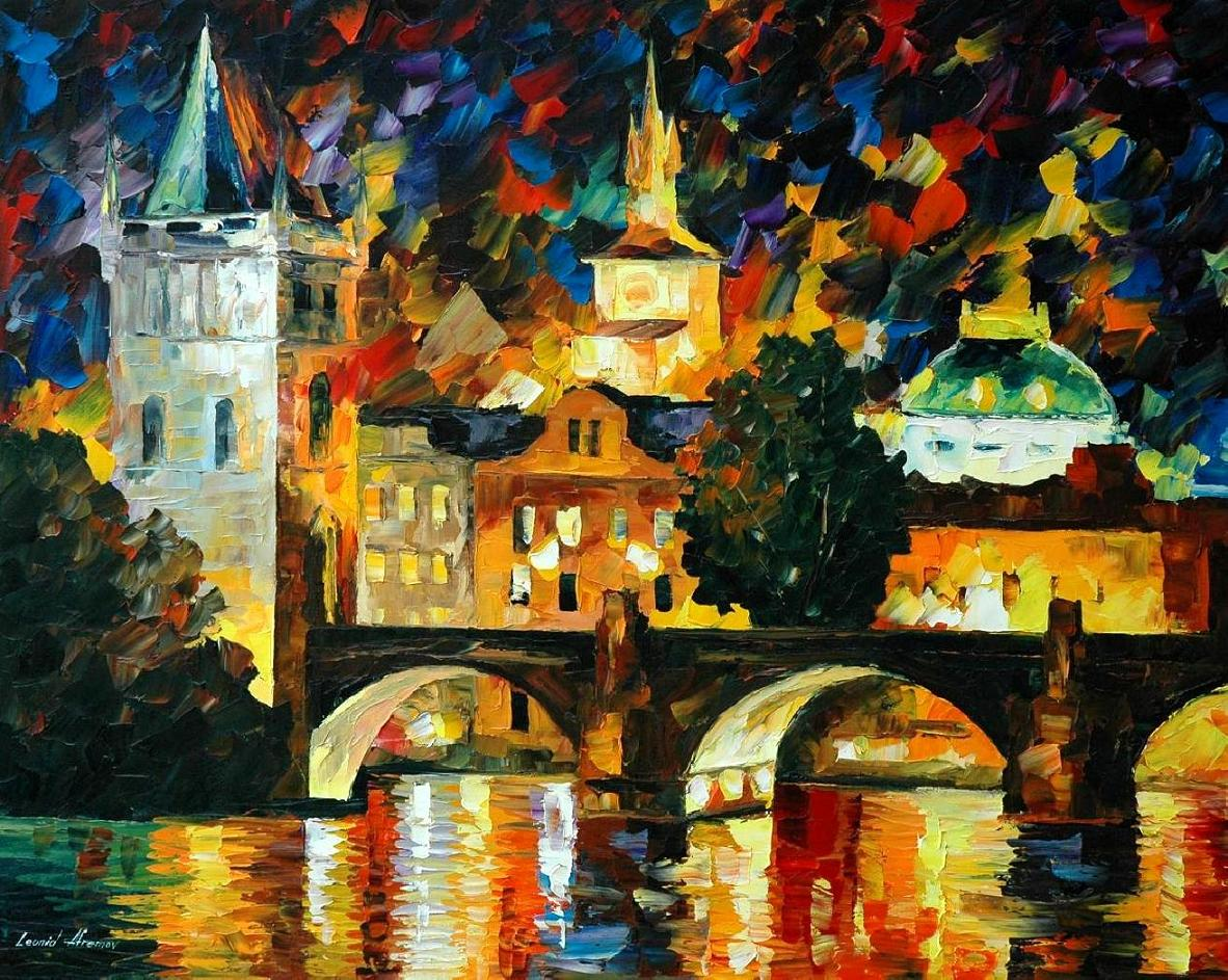 Modern impressionism palette knife oil painting City053