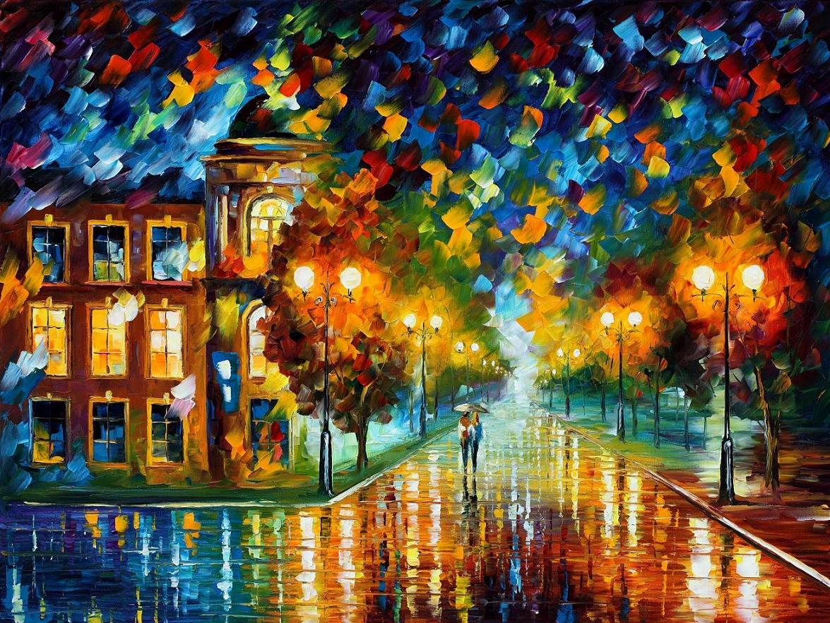 Modern impressionism palette knife oil painting City054