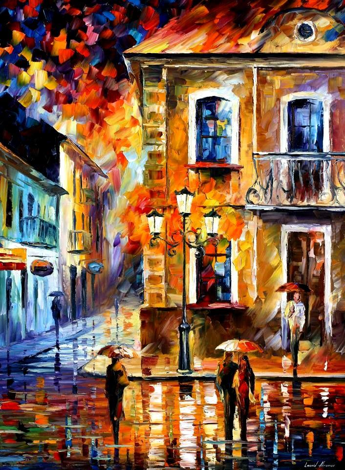 Modern impressionism palette knife oil painting City055