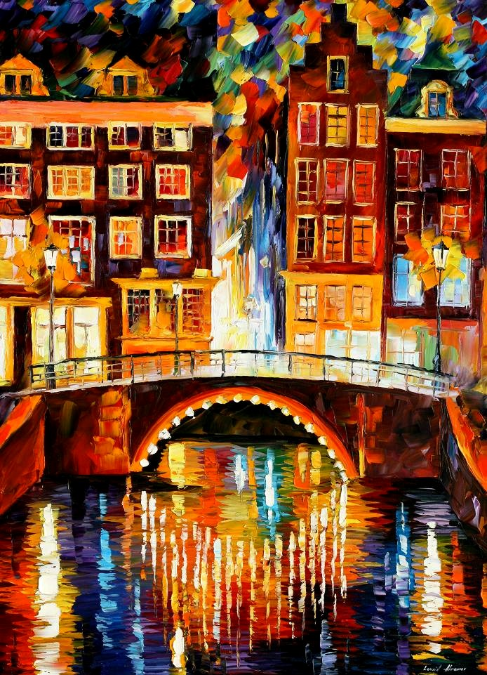 Modern impressionism palette knife oil painting City065