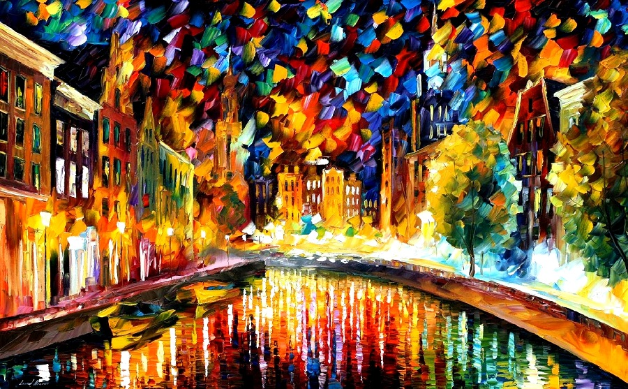 Modern impressionism palette knife oil painting City066