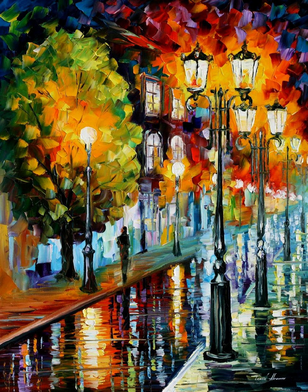 Modern impressionism palette knife oil painting City088