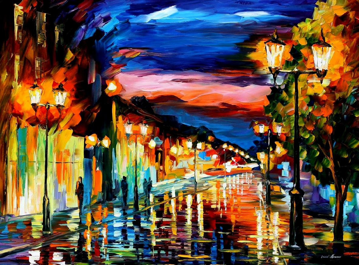 Modern impressionism palette knife oil painting City097