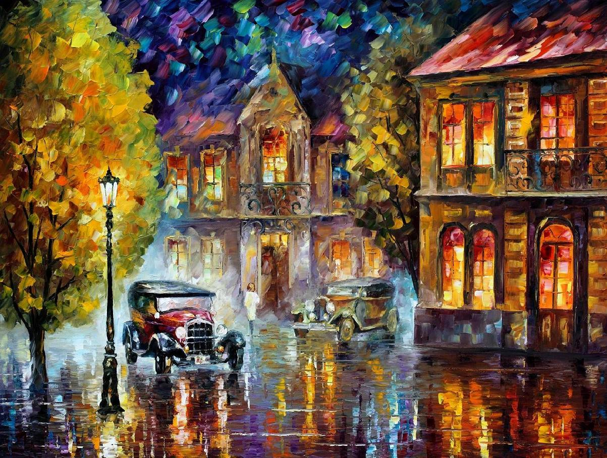 Modern impressionism palette knife oil painting kp15007
