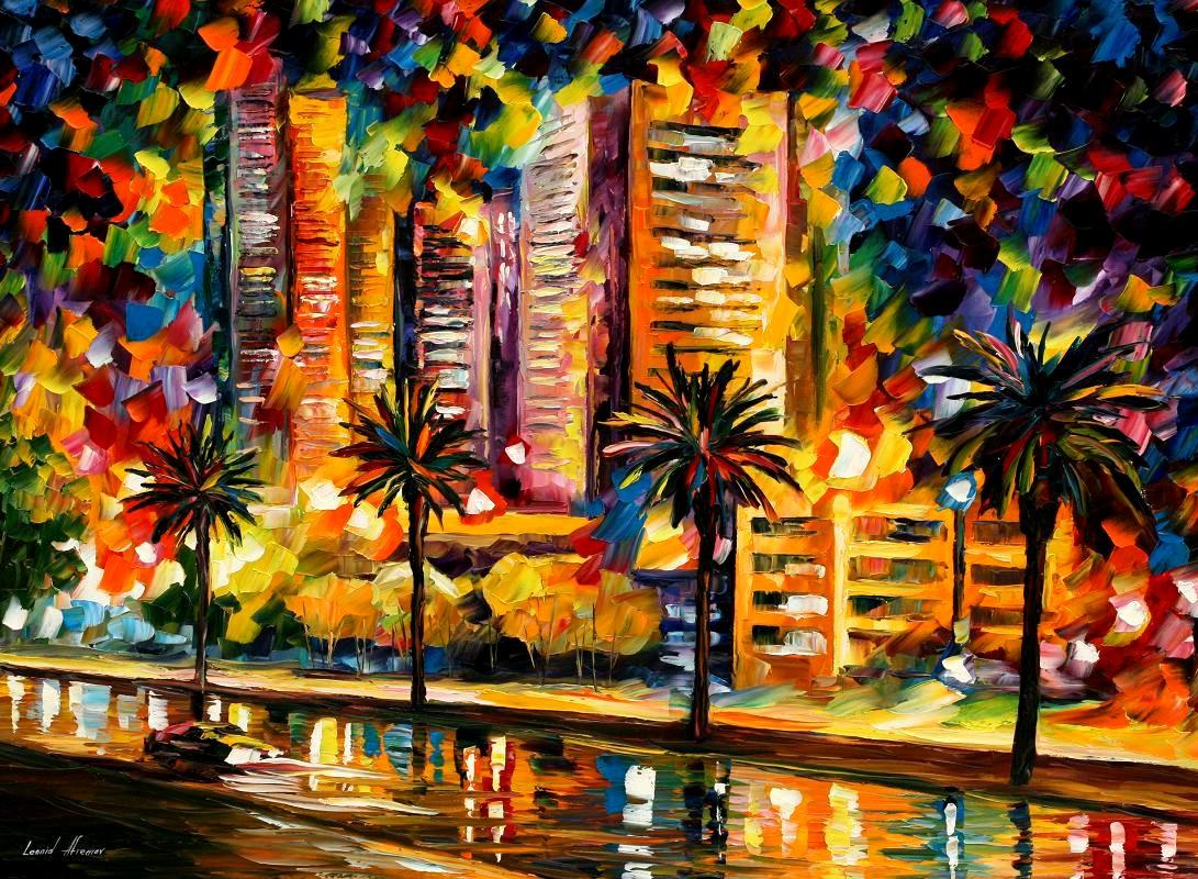 Modern impressionism palette knife oil painting kp15010
