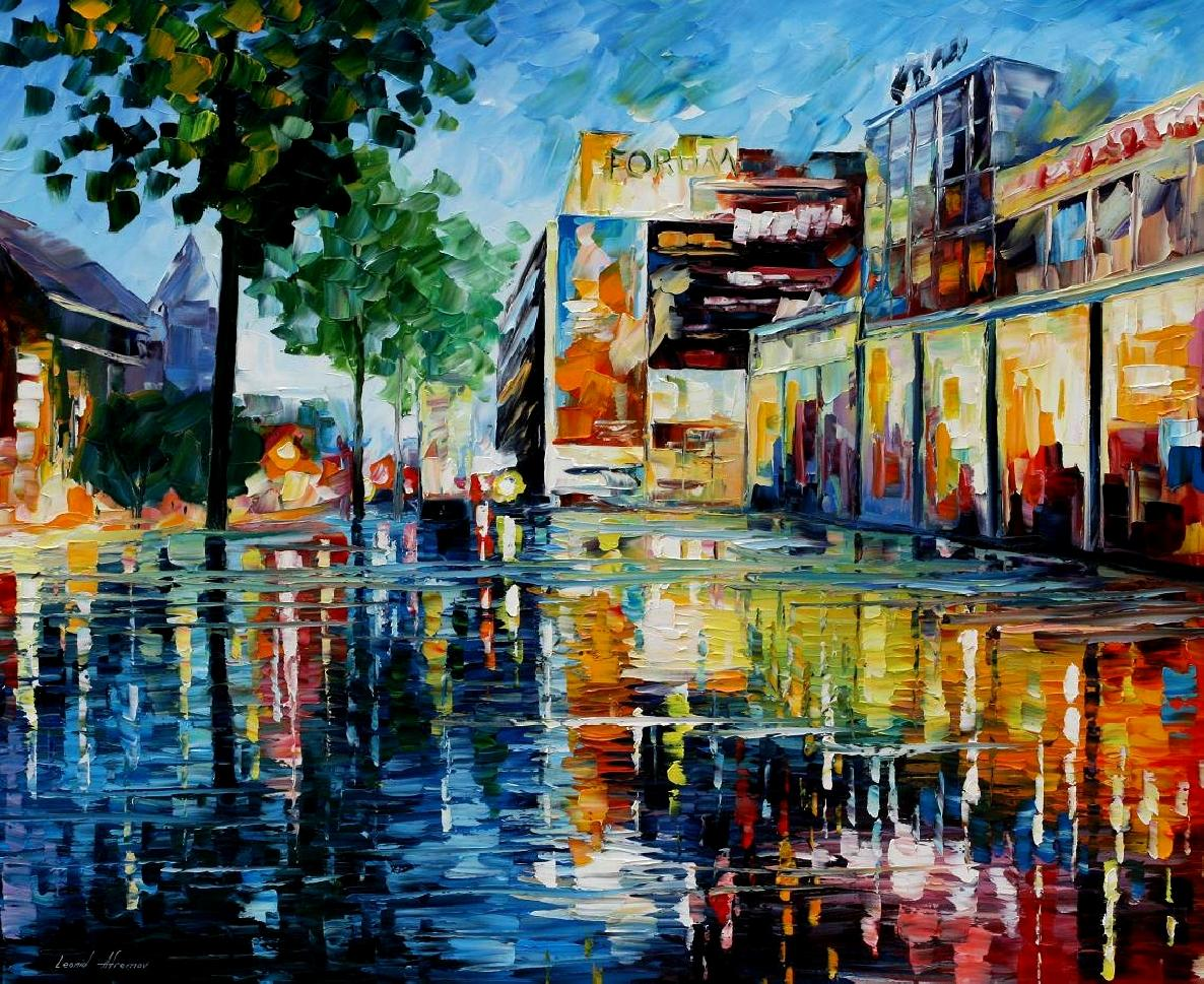 Modern impressionism palette knife oil painting kp15011