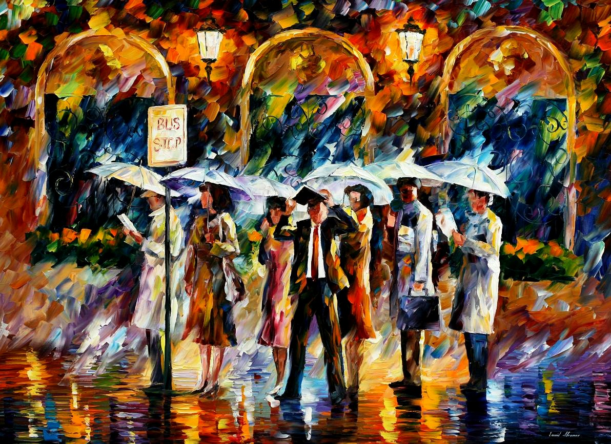 Modern impressionism palette knife oil painting kp15018