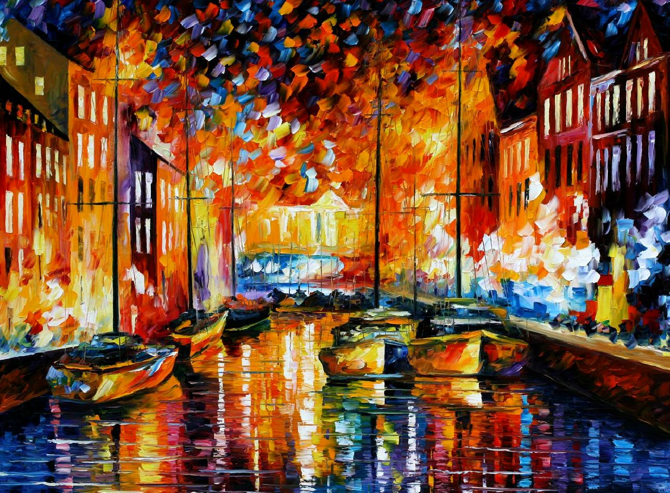 Modern impressionism palette knife oil painting kp15068