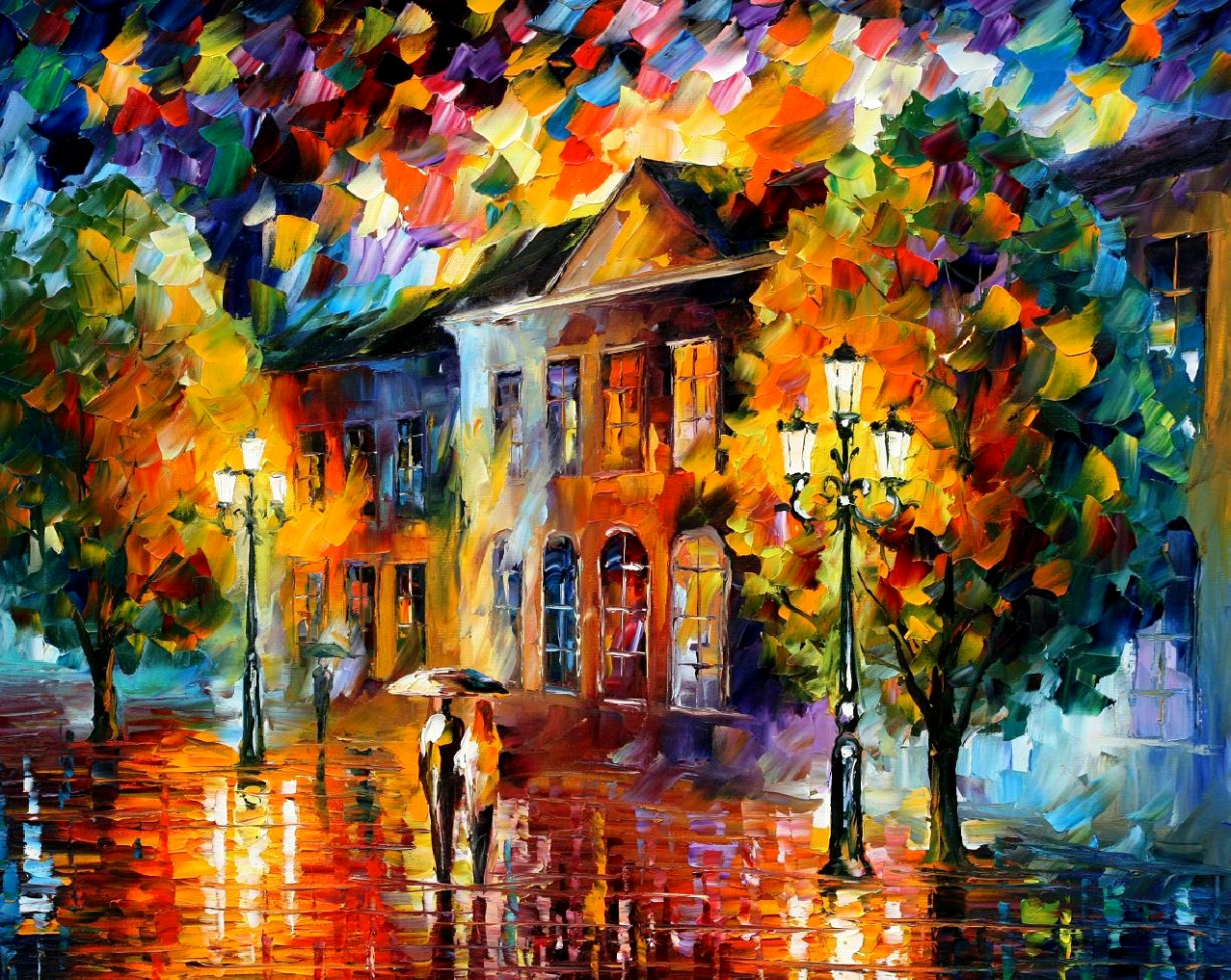 Modern impressionism palette knife oil painting kp15074