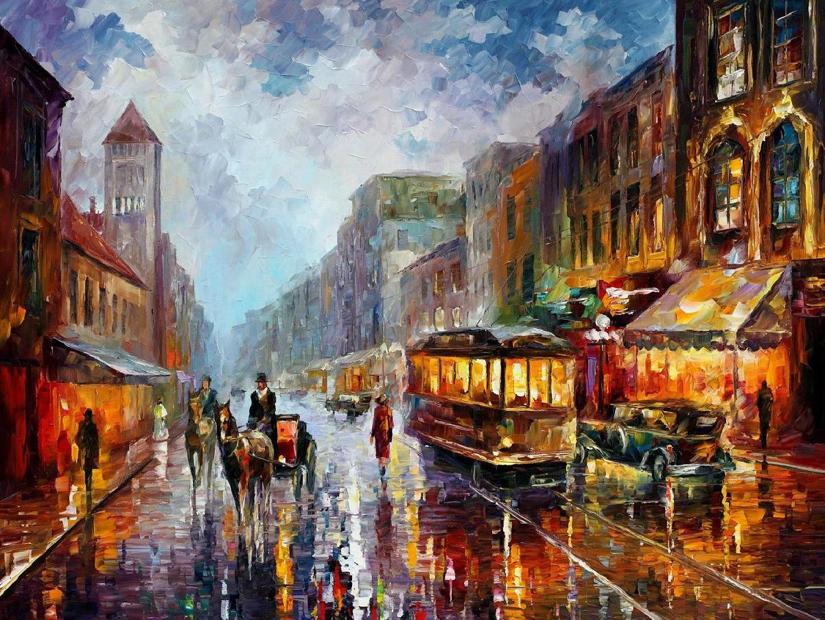 Modern impressionism palette knife oil painting kp15125 for Contemporary oil paintings
