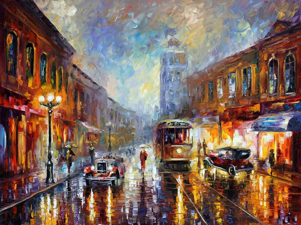 Modern impressionism palette knife oil painting kp15133