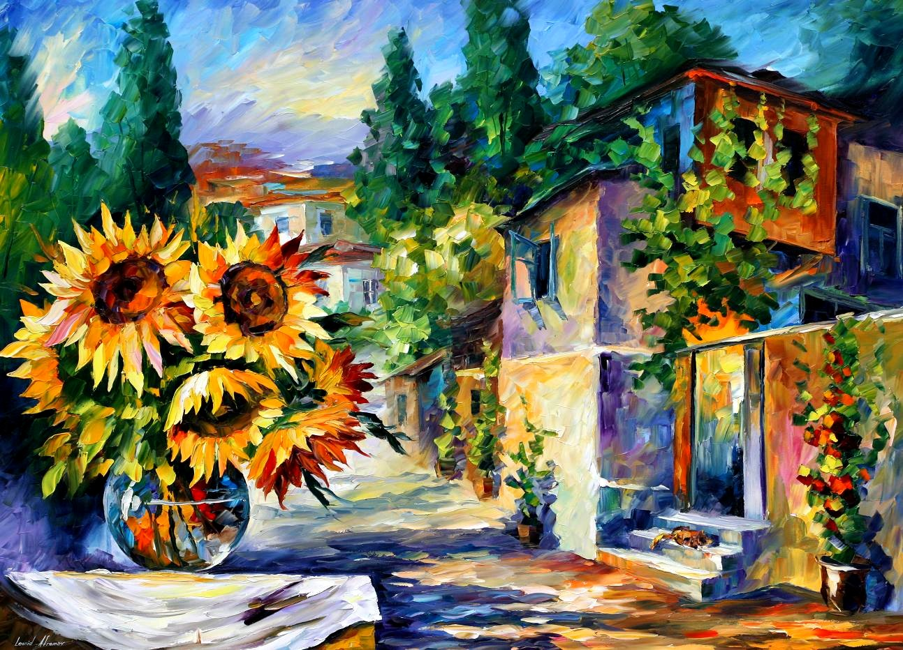 Modern impressionism palette knife oil painting kp15151
