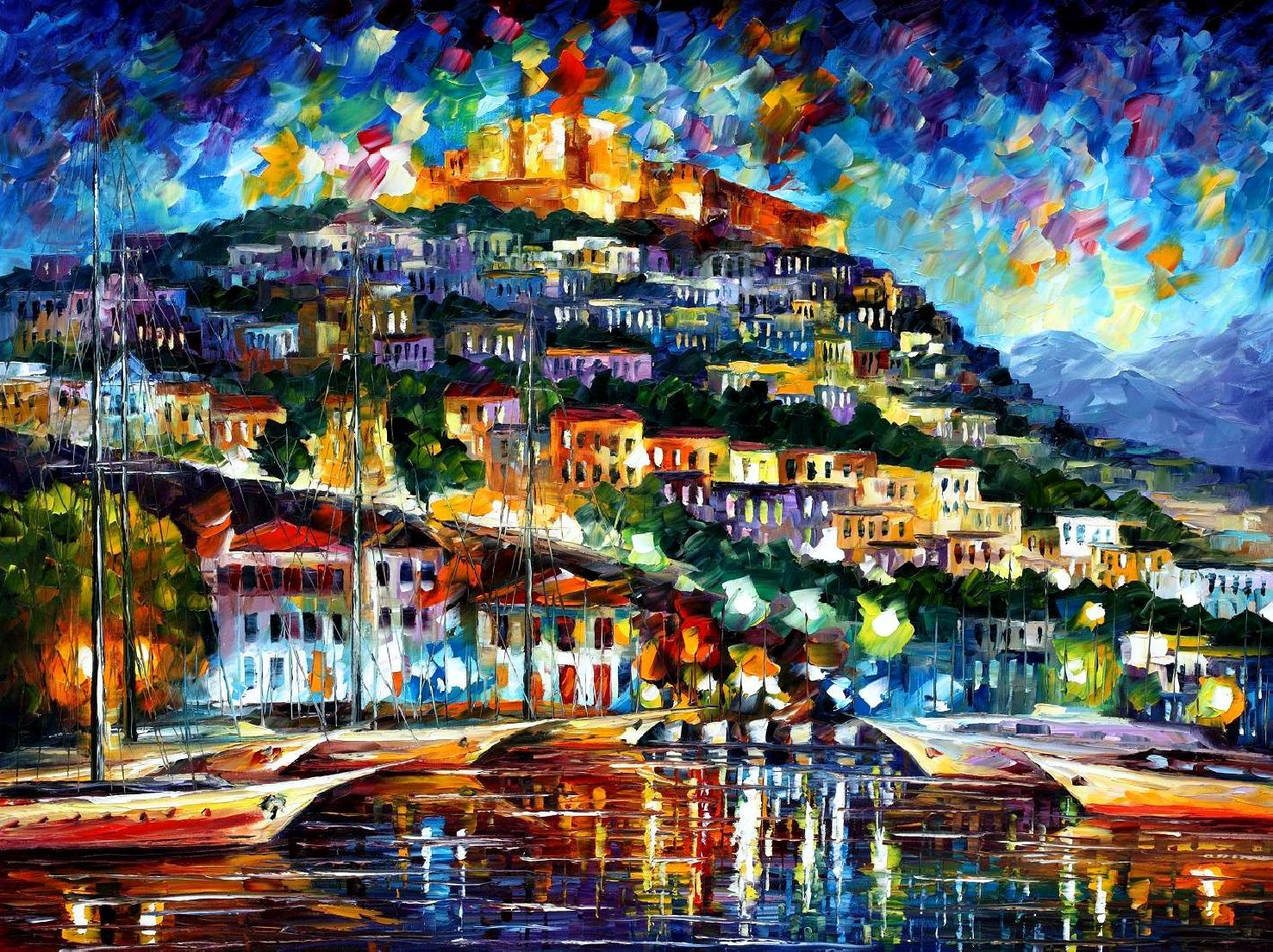 Modern impressionism palette knife oil painting kp15154