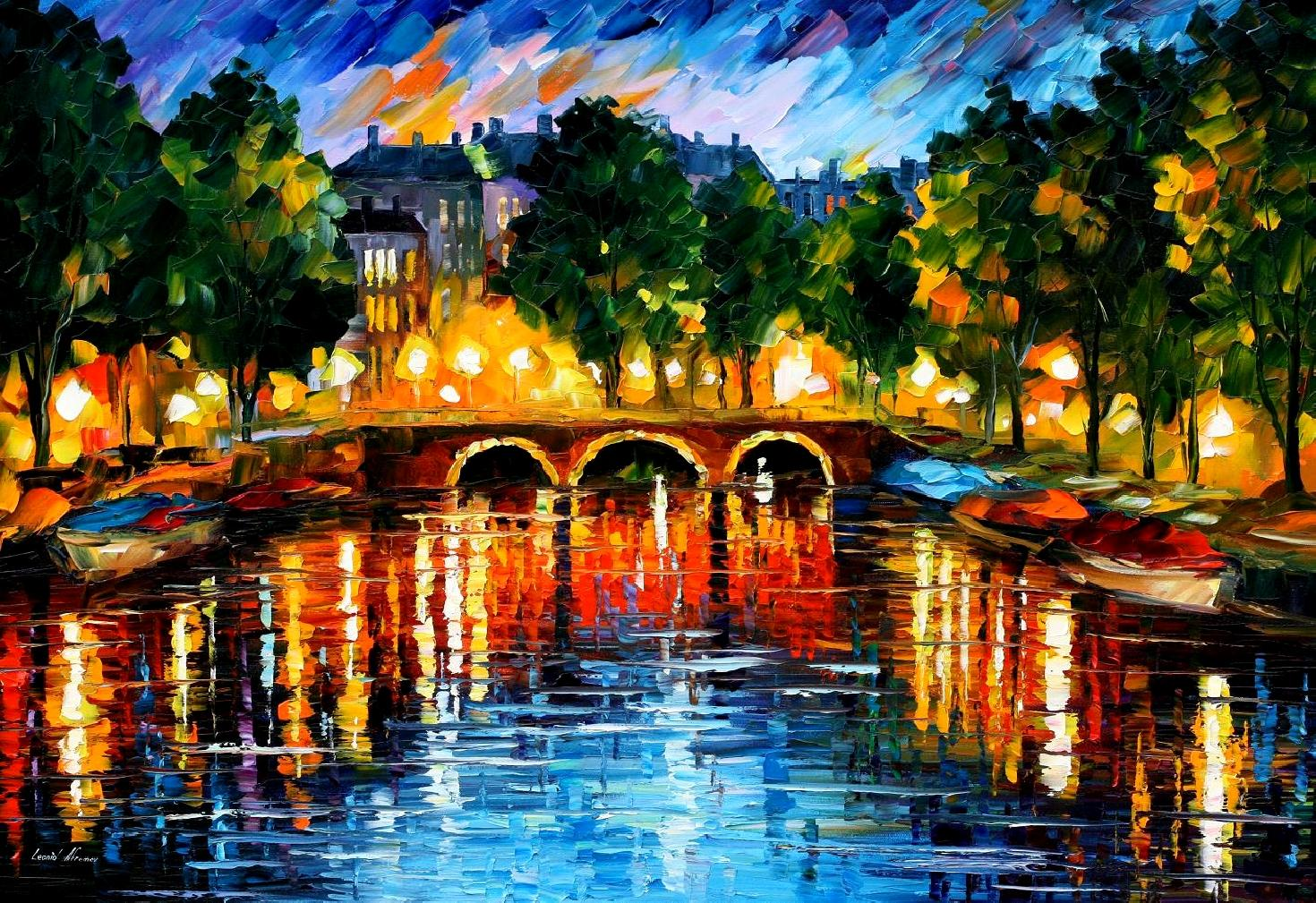 Modern impressionism palette knife oil painting kp15204