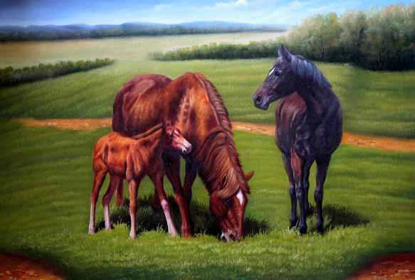 Dafen Oil Painting on canvas -horse034