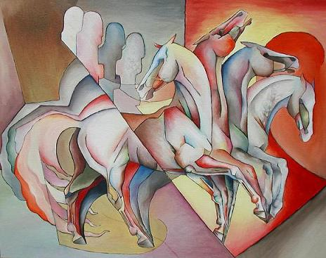 Dafen Oil Painting on canvas -horse067