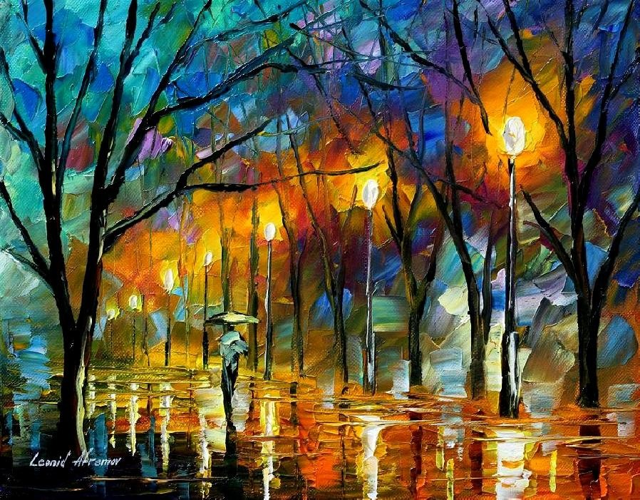 Modern impressionism palette knife oil painting kp091