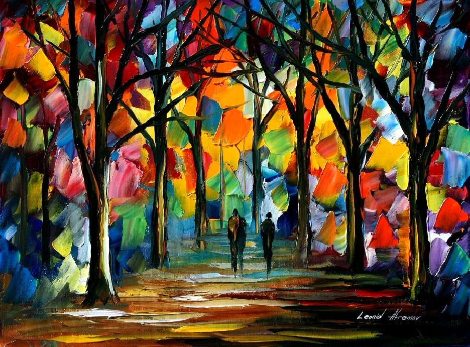 Modern impressionism palette knife oil painting kp096 for Contemporary oil paintings