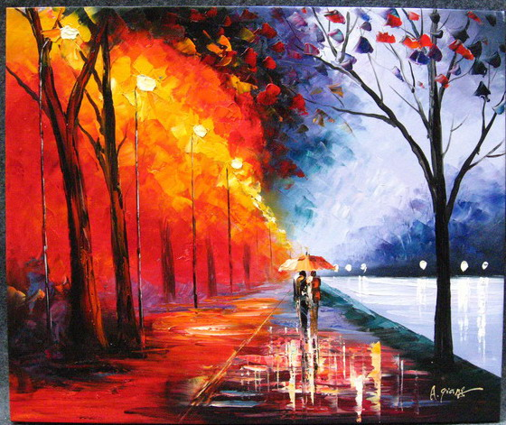 Modern impressionism palette knife oil painting kp200