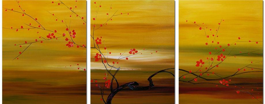 Dafen Oil Painting on canvas red flowers -set004