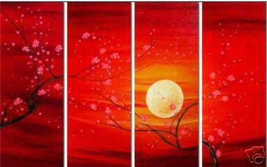 Dafen Oil Painting on canvas red leafage -set033