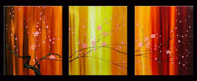 Dafen Oil Painting on canvas red flowers -set049