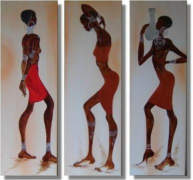 Dafen Oil Painting on canvas Africa girl -set222