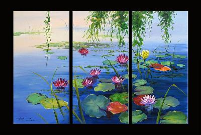 Dafen Oil Painting on canvas water lily -set276