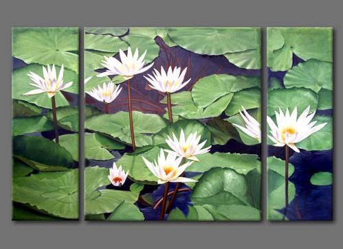 Dafen Oil Painting On Canvas Water Lily Set302 Set302