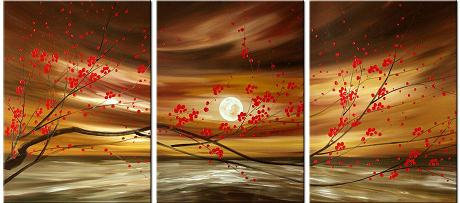 Dafen Oil Painting on canvas red flowers -set336