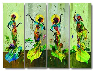 Dafen Oil Painting on canvas happy girls -set341