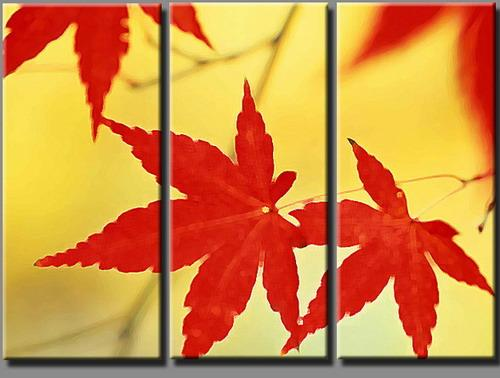 Leaves Painting Canvas Canvas Red Leaves Set404