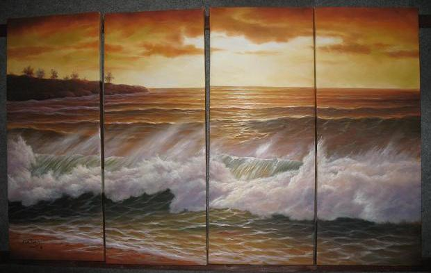 Dafen Oil Painting on canvas ocean wave -set497