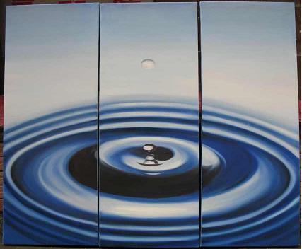 Dafen Oil Painting on canvas blue water drop -set531