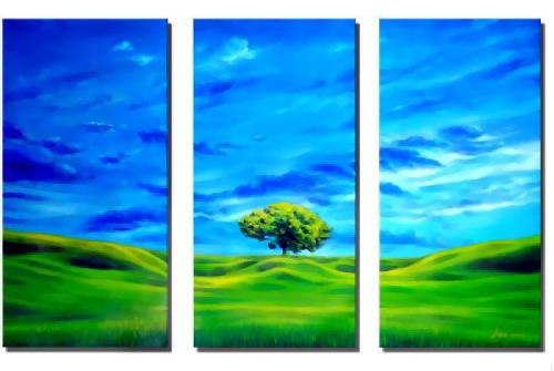 Dafen Oil Painting on canvas green tree -set576