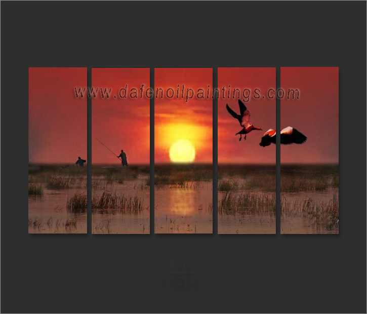 Dafen Oil Painting on canvas sunglow -set657